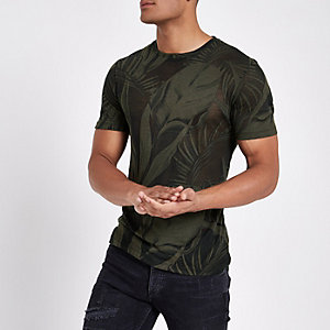 Dunkelgrünes Slim Fit T-Shirt mit Palmenprint