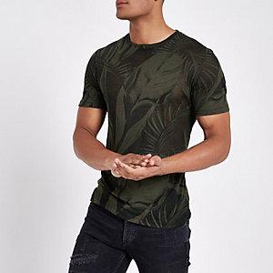 Donkergroen slim-fit T-shirt met palmprint