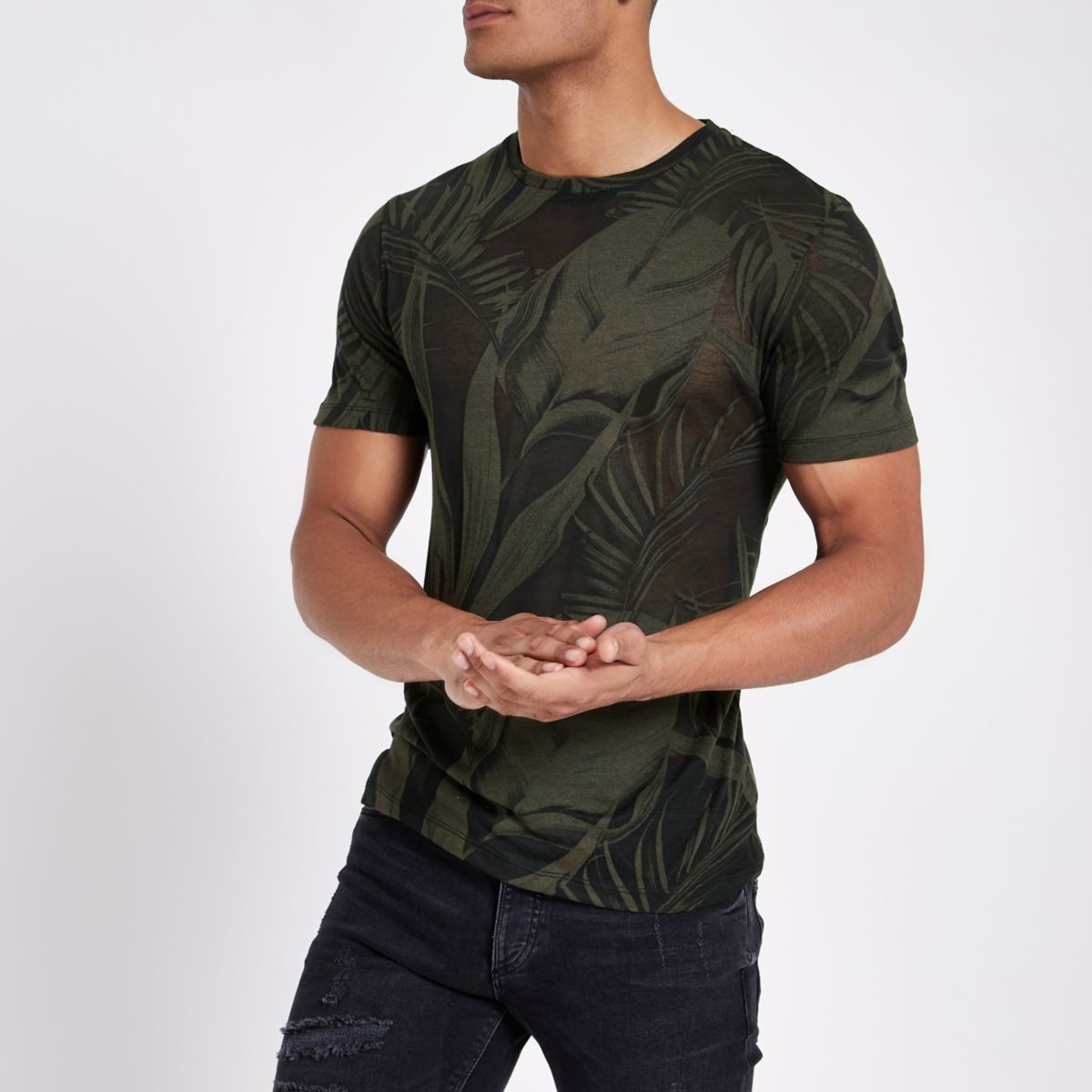Dark green palm print slim fit T-shirt