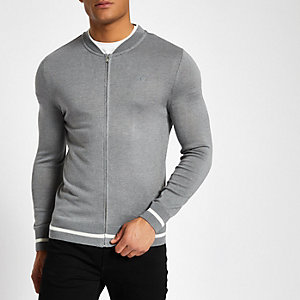 Grey zip front slim fit cardigan