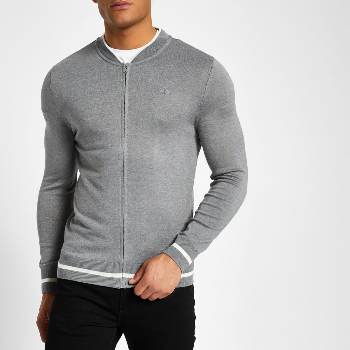 Grey zip front slim fit bomber cardigan