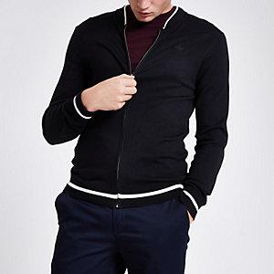 Navy zip front slim fit cardigan