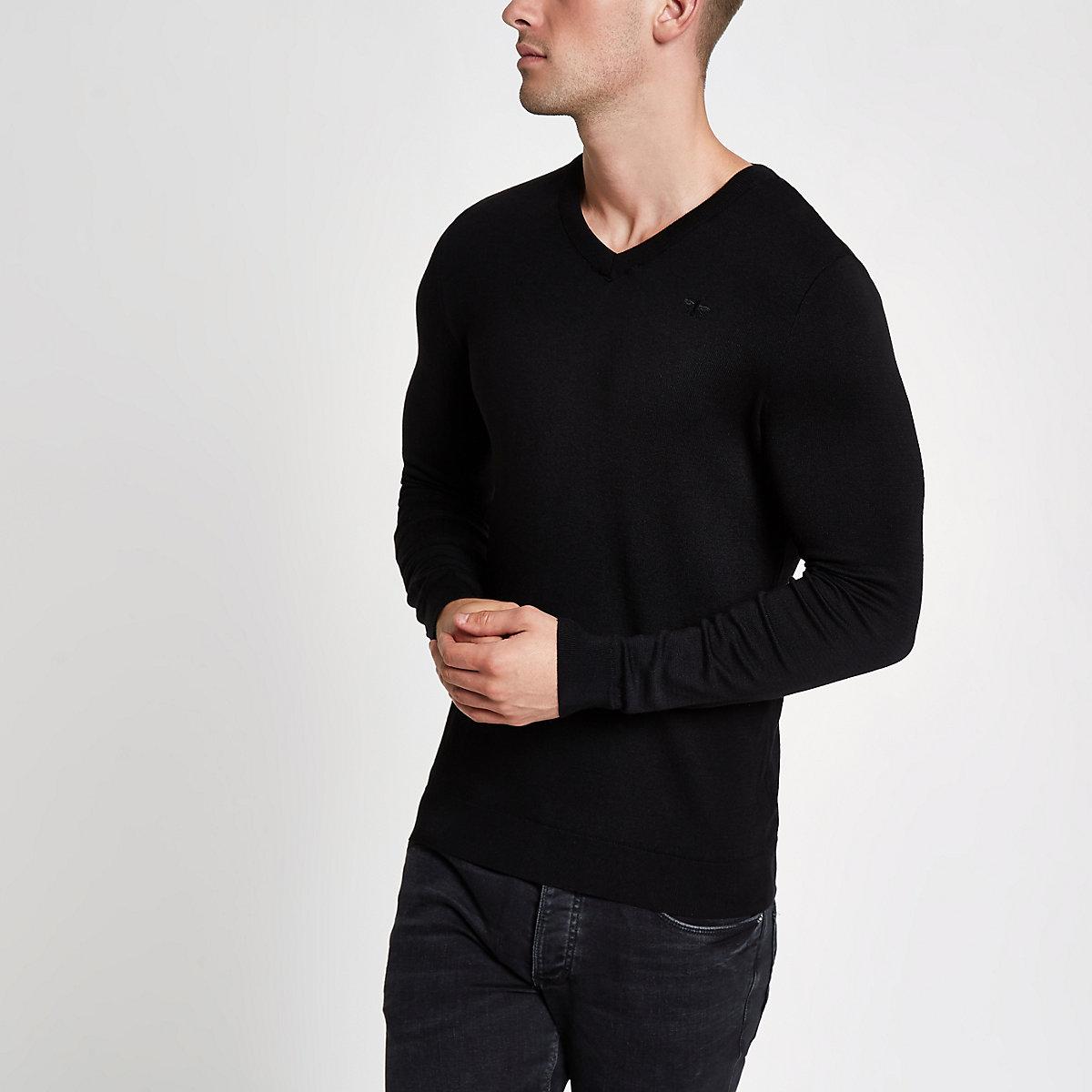 Black slim fit V neck sweater