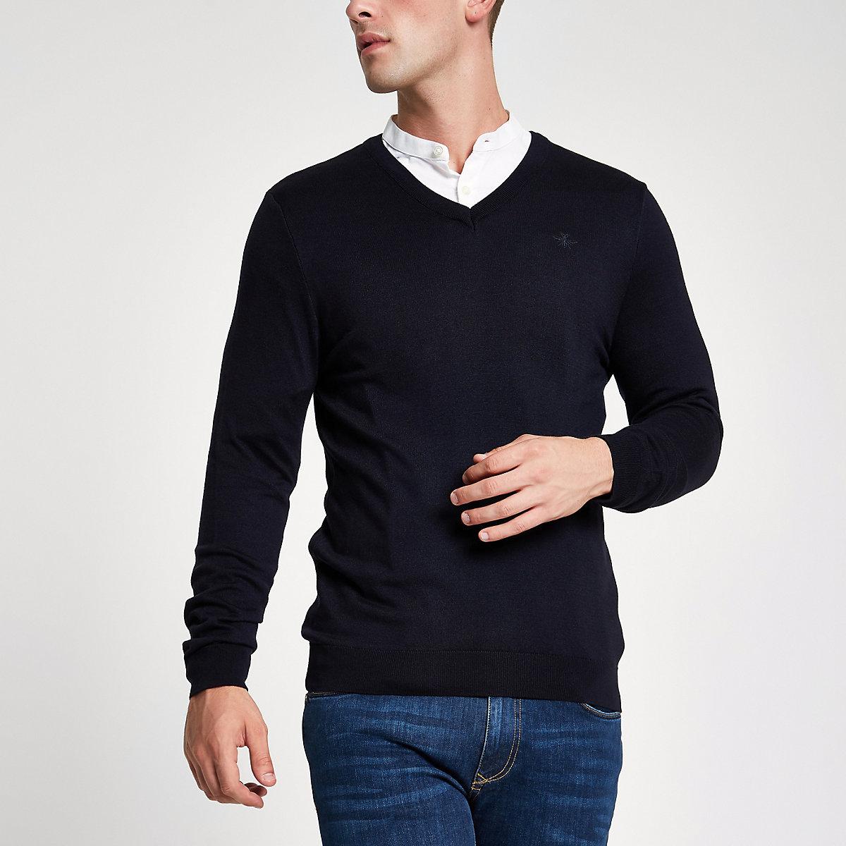 Navy slim fit V neck jumper