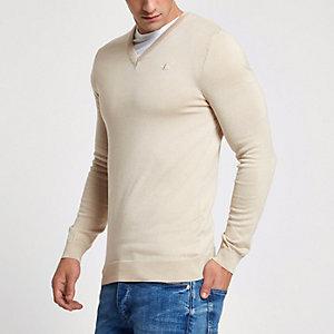 Hellbrauner Slim Fit Pullover mit V-Ausschnitt