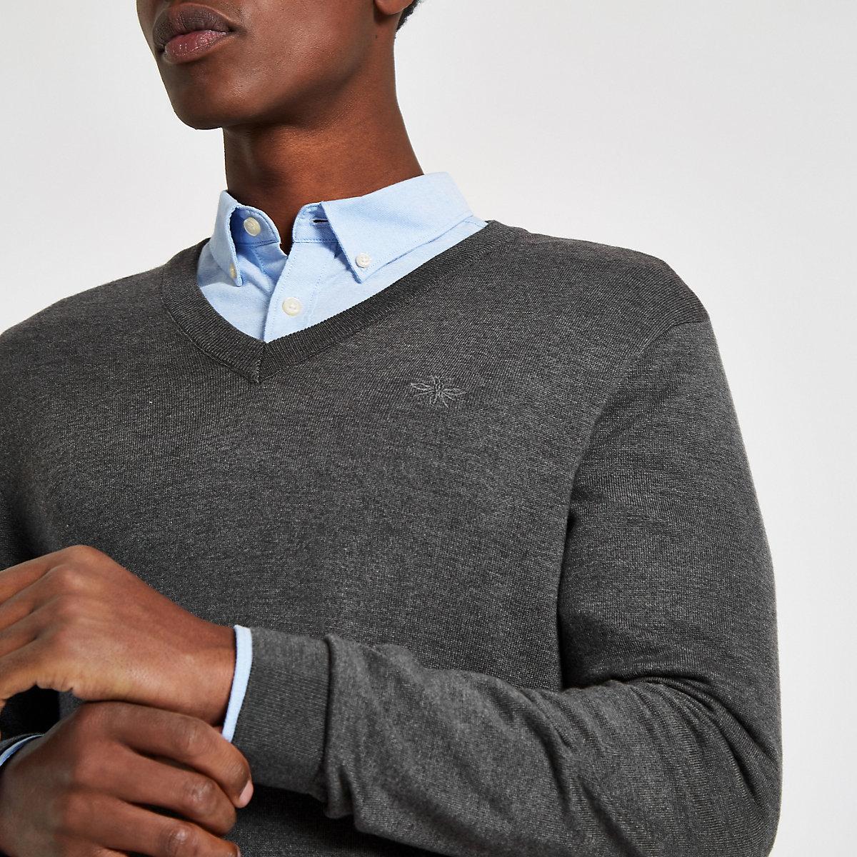 Grey slim fit V neck jumper
