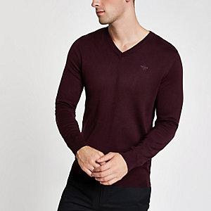Donkerrode slim-fit pullover met V-hals