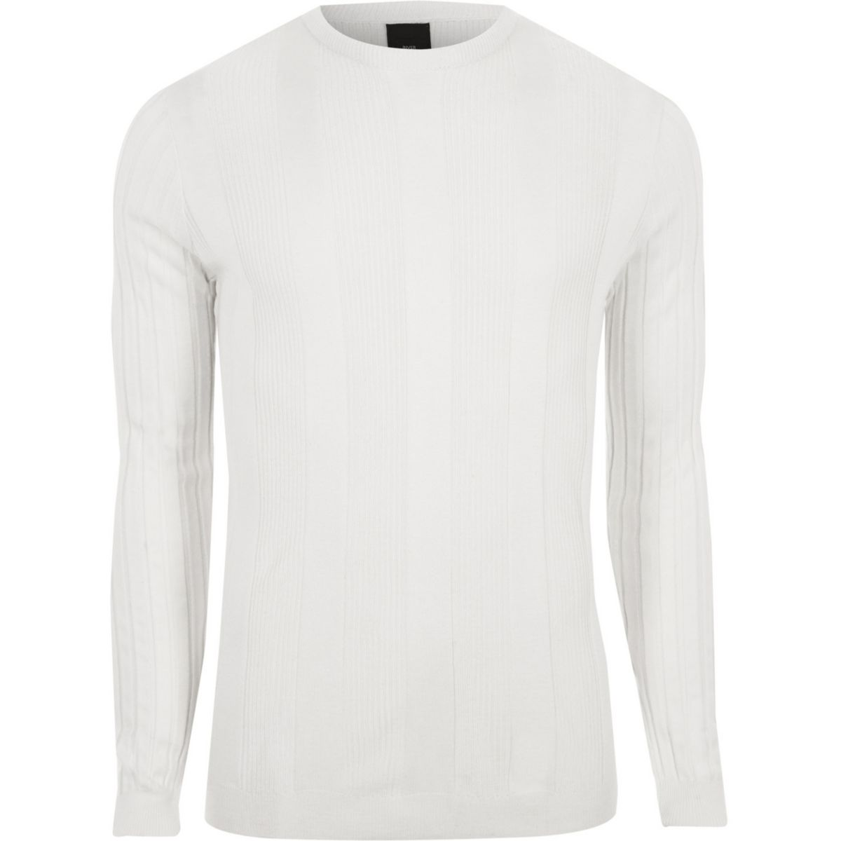 ribbed sleeve jumper White fit long muscle 41xEwOpq