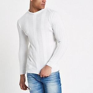 Pull ajusté côtelé blanc à manches longues