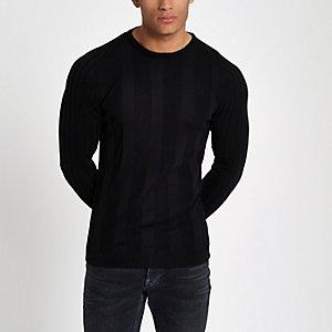 Zwarte geribbelde aansluitende pullover met lange mouwen