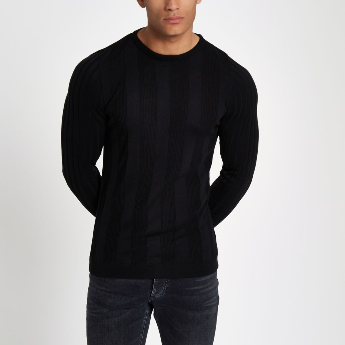 Black long sleeve ribbed muscle fit sweater