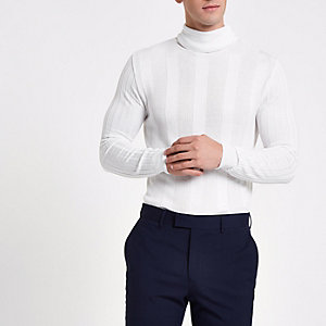 White turtle neck muscle fit sweater