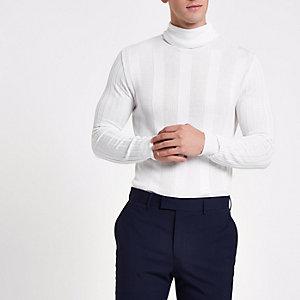 Pull ajusté blanc à col montant