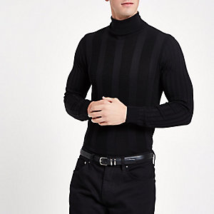 Black muscle roll neck sweater