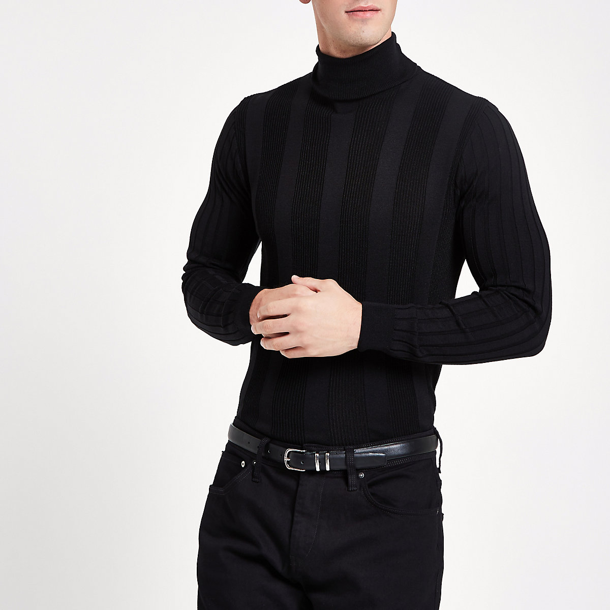 Black muscle roll neck jumper