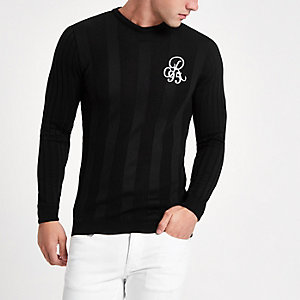Black rib muscle fit long sleeve sweater