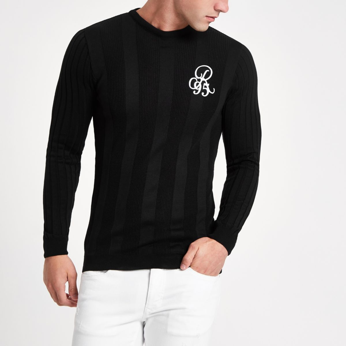 Black rib muscle fit long sleeve jumper