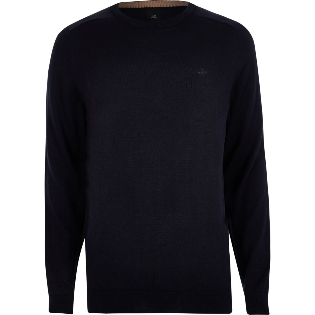 Navy embroidered wasp fit slim jumper wCq7gYCF