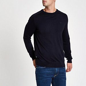 Marineblauer Slim Fit Pullover mit Wespenstickerei