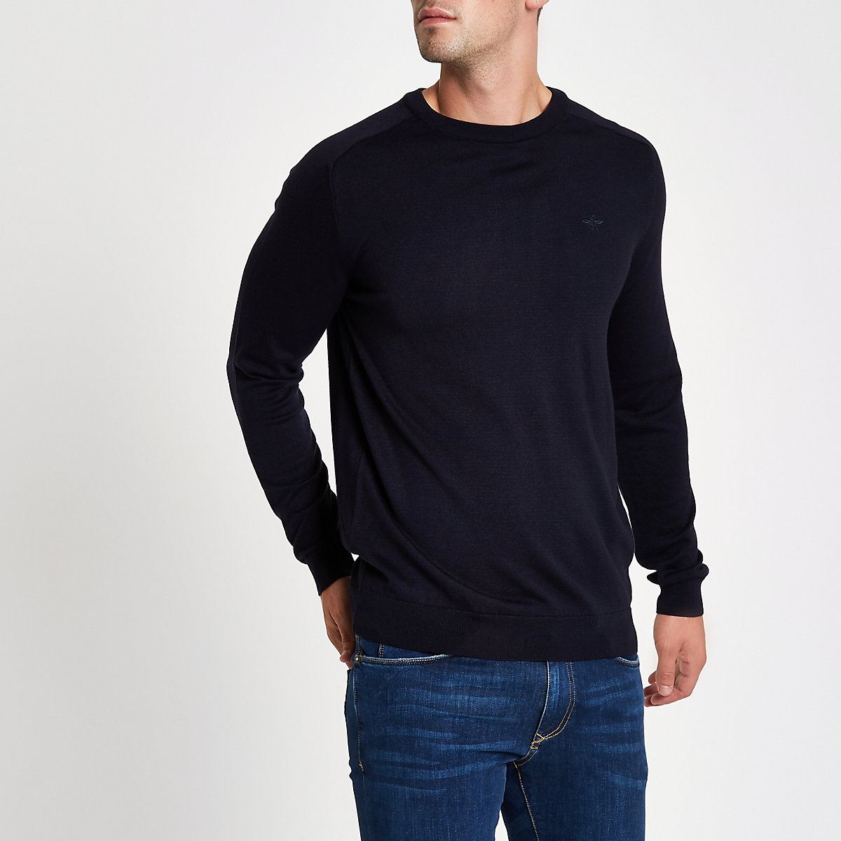 Navy wasp embroidered slim fit jumper