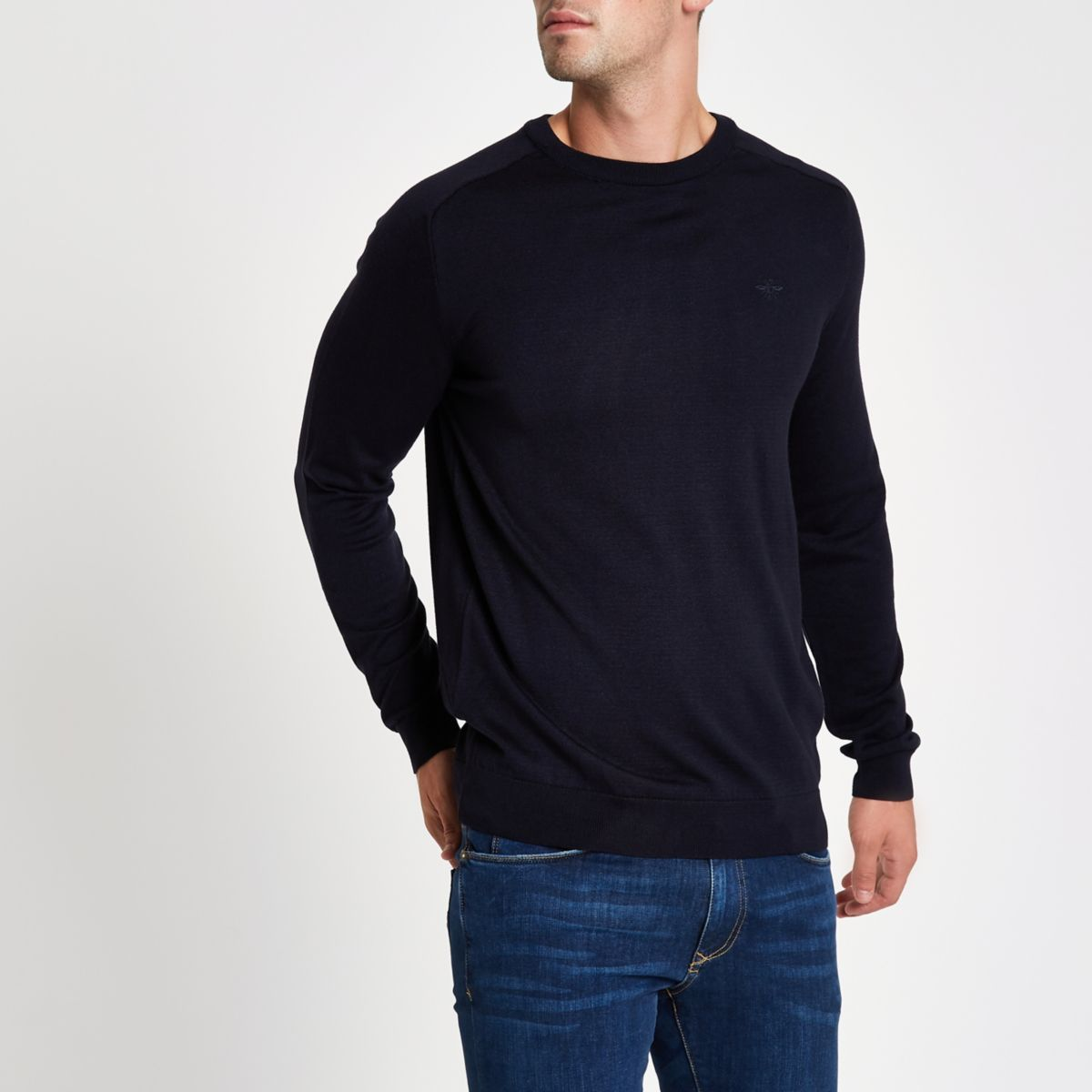 Navy wasp embroidered slim fit sweater