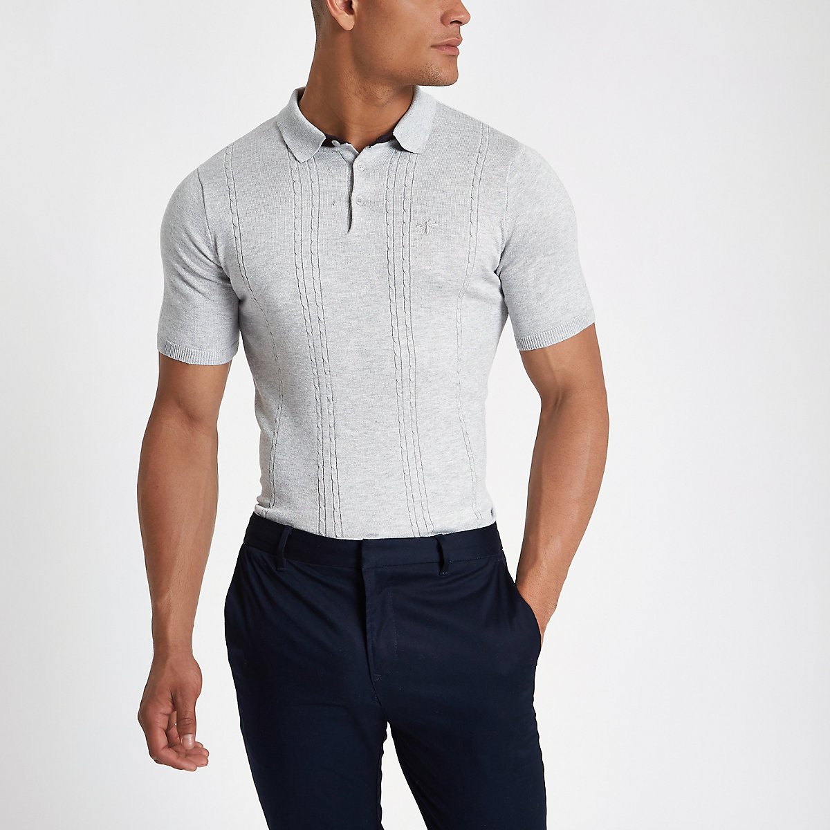 Grey cable knit slim fit polo shirt