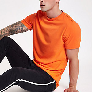 Orange crew neck curved hem T-shirt