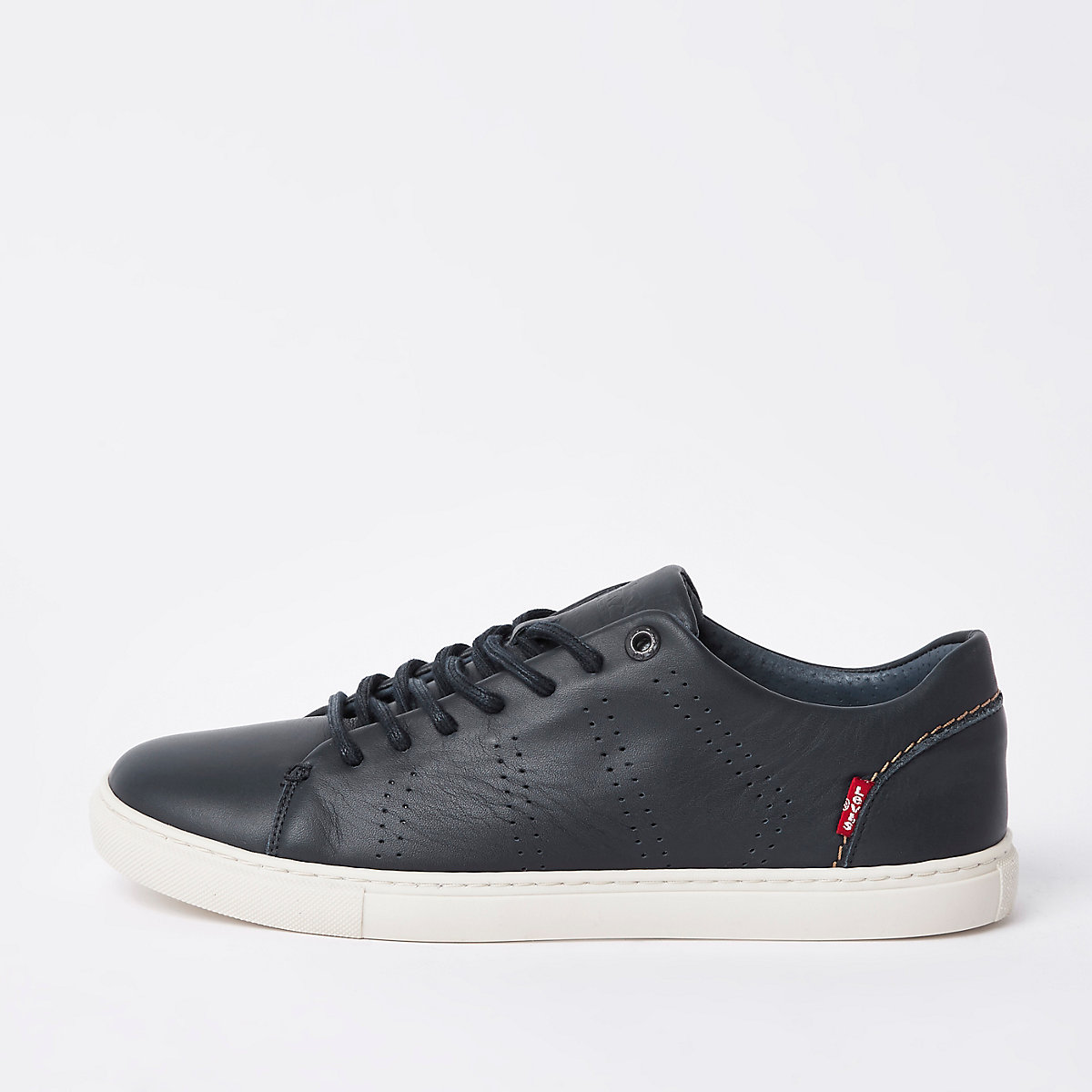 Levi's navy leather lace-up trainers