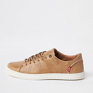 Levi's brown leather lace-up sneakers