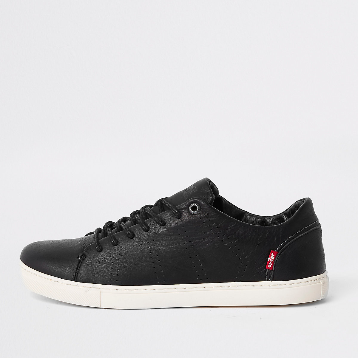 Levi's black leather lace-up trainers
