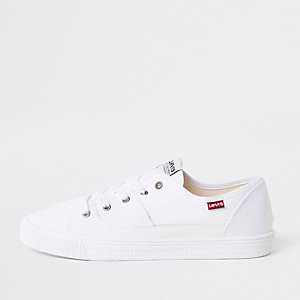 Levi's white lace-up trainers
