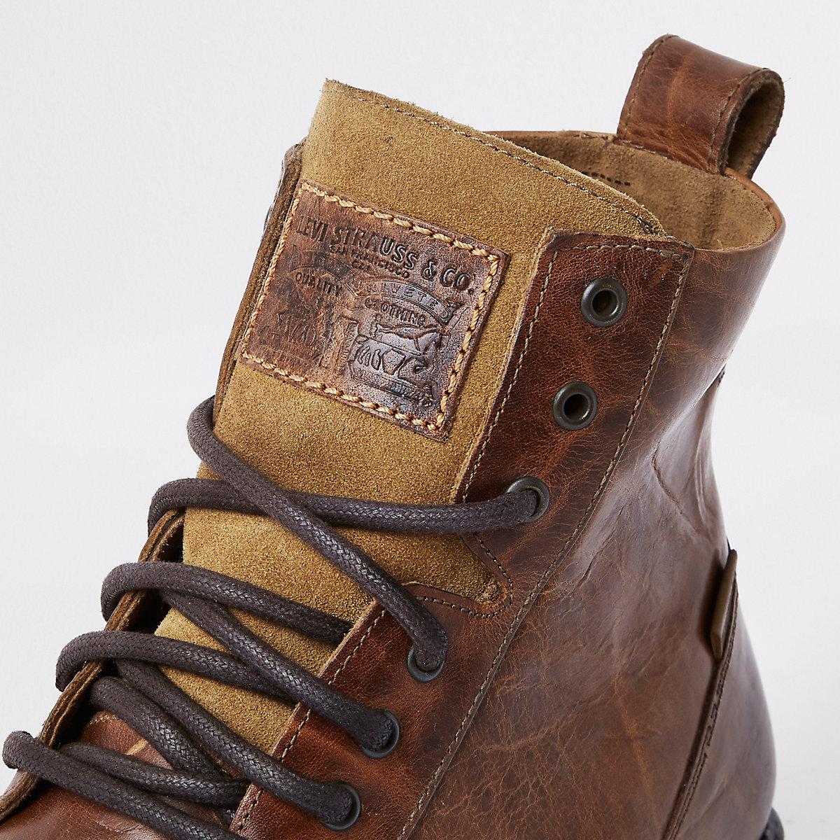 17639084ac0f Levi s – Braune Lederstiefel zum Schnüren - Stiefel - Schuhe ...