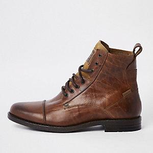 Levi's – Bottes à lacets en cuir marron