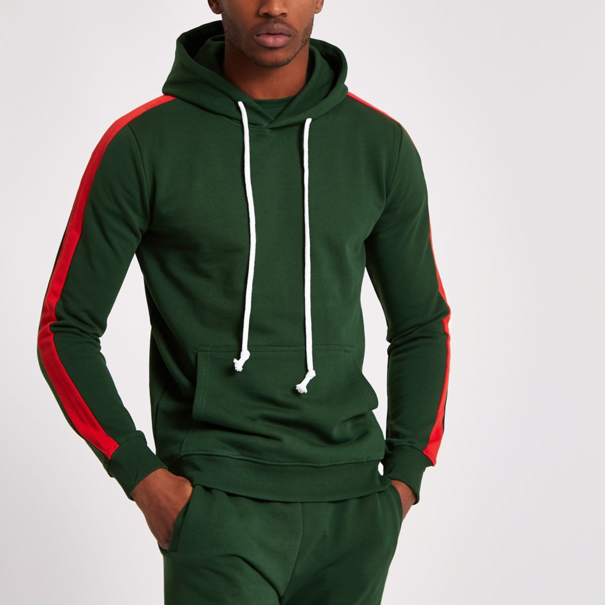 Criminal Damage green stripe side hoodie