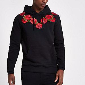 Black Criminal Damage rose embroidered hoodie