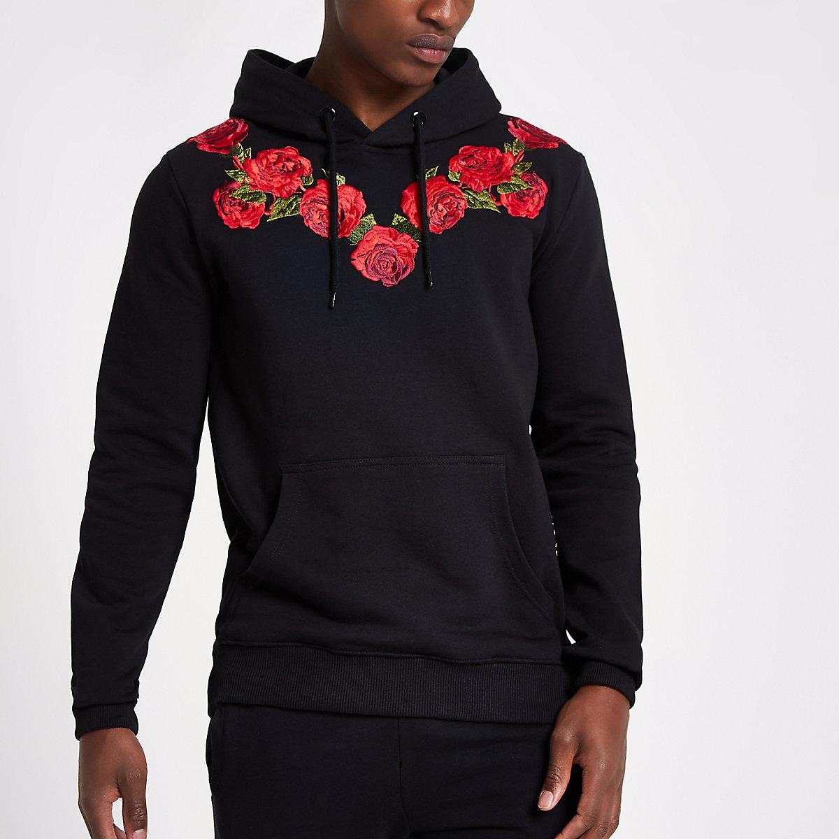 Criminal Damage black rose embroidered hoodie