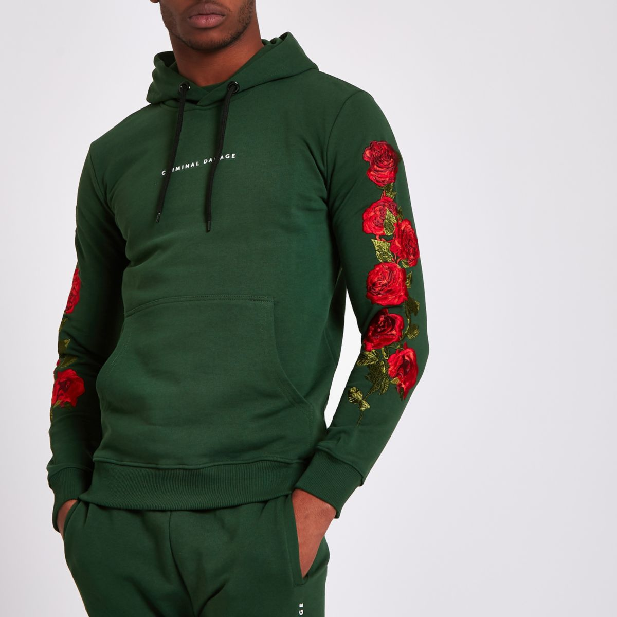 Criminal Damage green rose embroidered hoodie