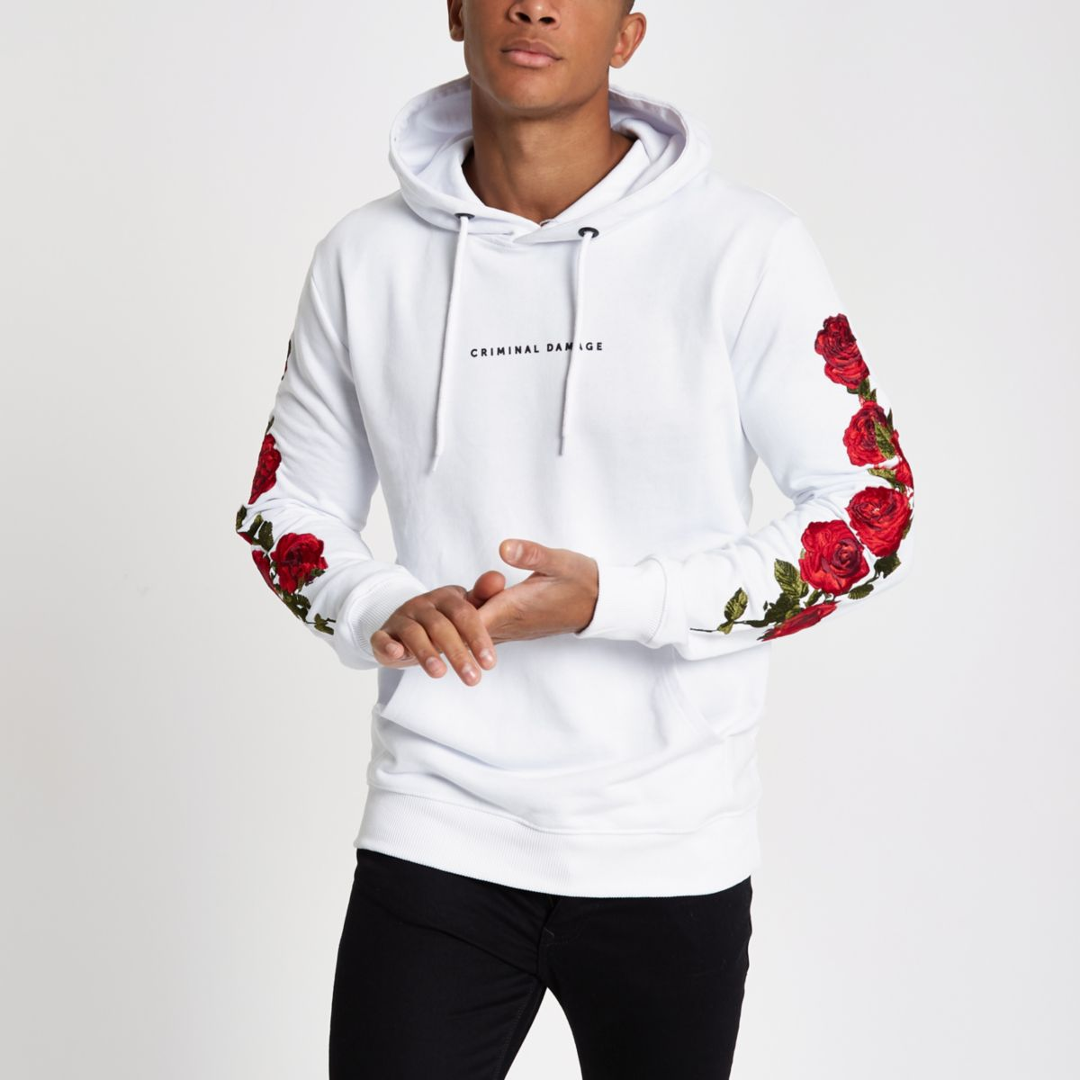Criminal Damage white rose embroidered hoodie