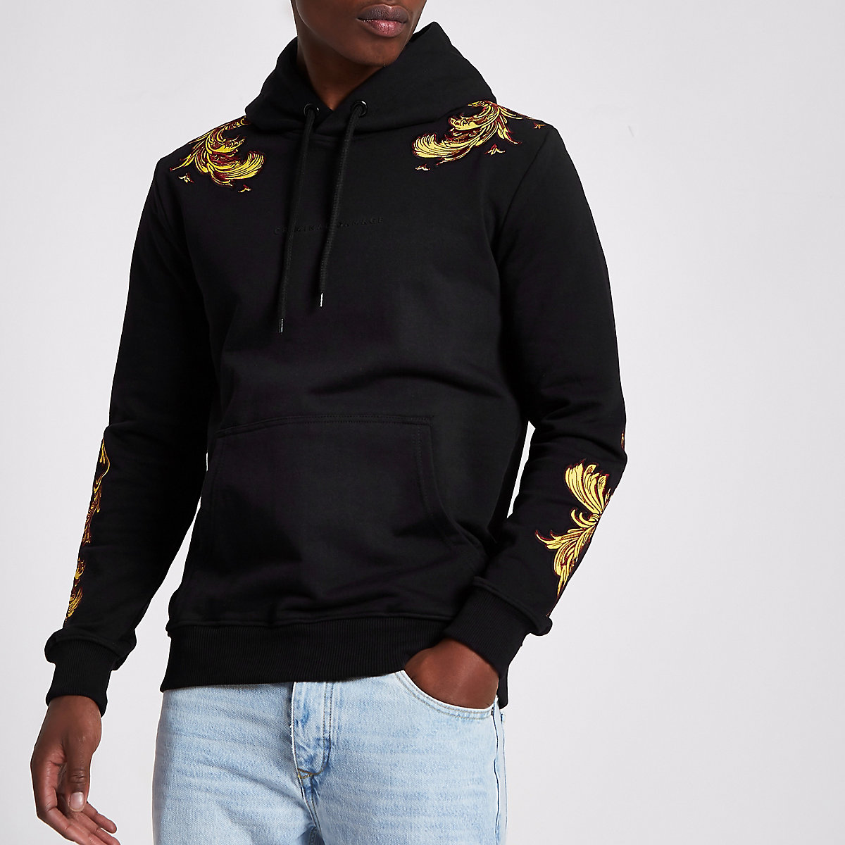 Criminal Damage black embroidered hoodie