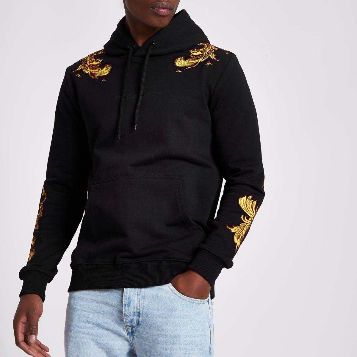 Criminal Damage black embroidered hoodie
