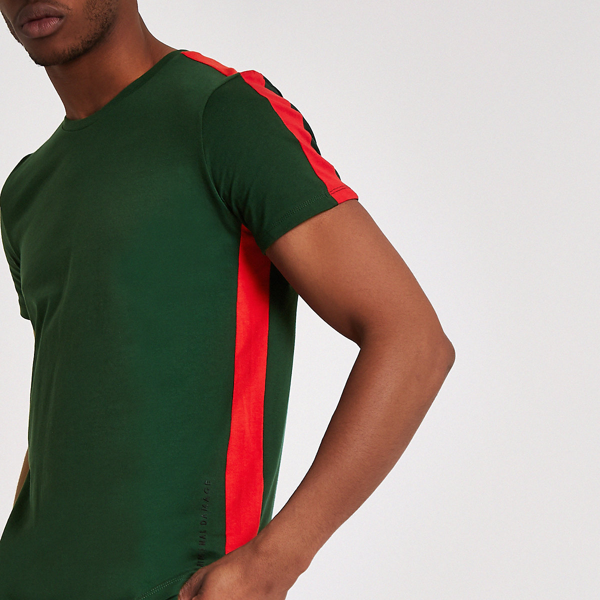 Criminal Damage green stripe side T-shirt