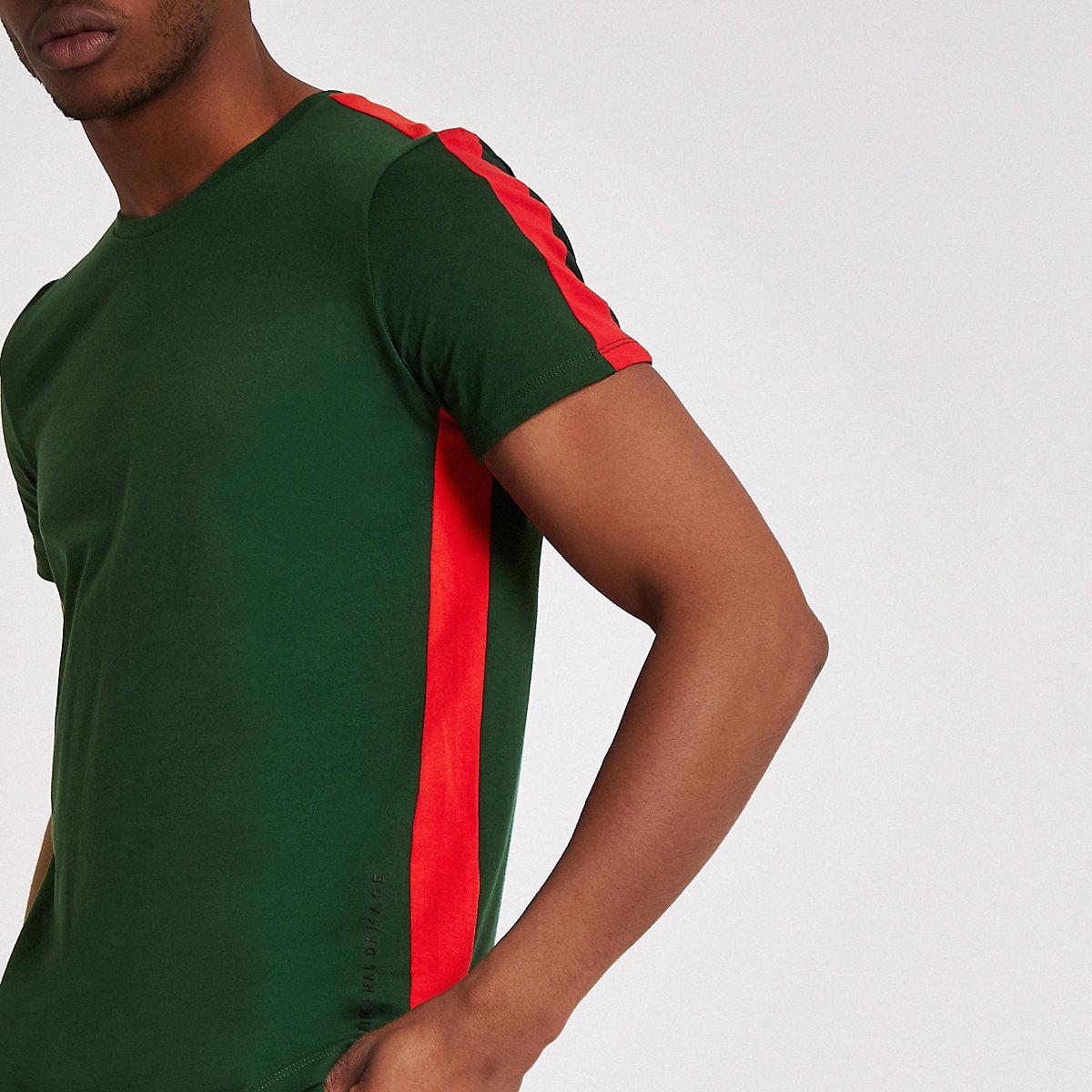 Criminal Damage – T-shirt vert à rayure latérale