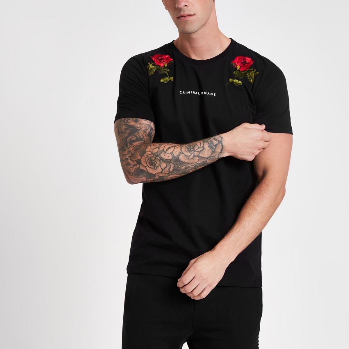 Criminal Damage – T-shirt noir avec roses brodées