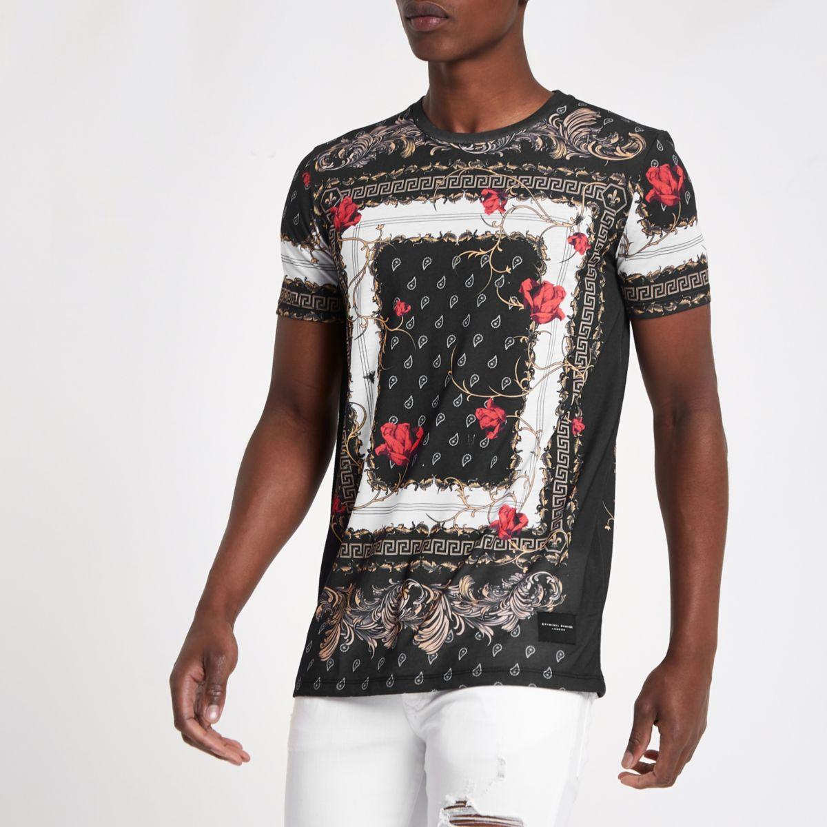 Criminal Damage – T-shirt imprimé baroque noir