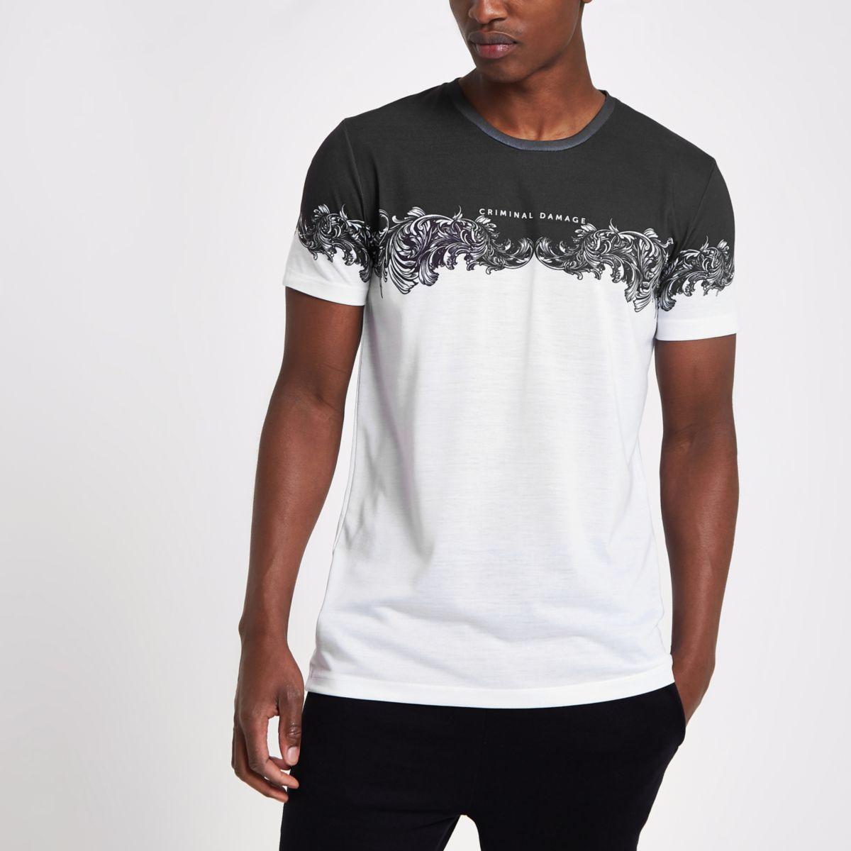 Criminal Damage white print T-shirt