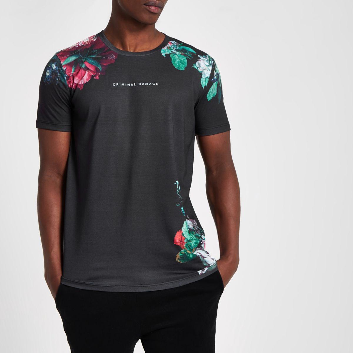 Criminal Damage – T-shirt à fleurs noir