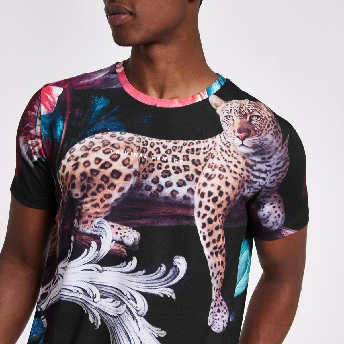 Criminal Damage black leopard T-shirt