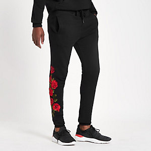 Criminal Damage black rose embroidered jogger