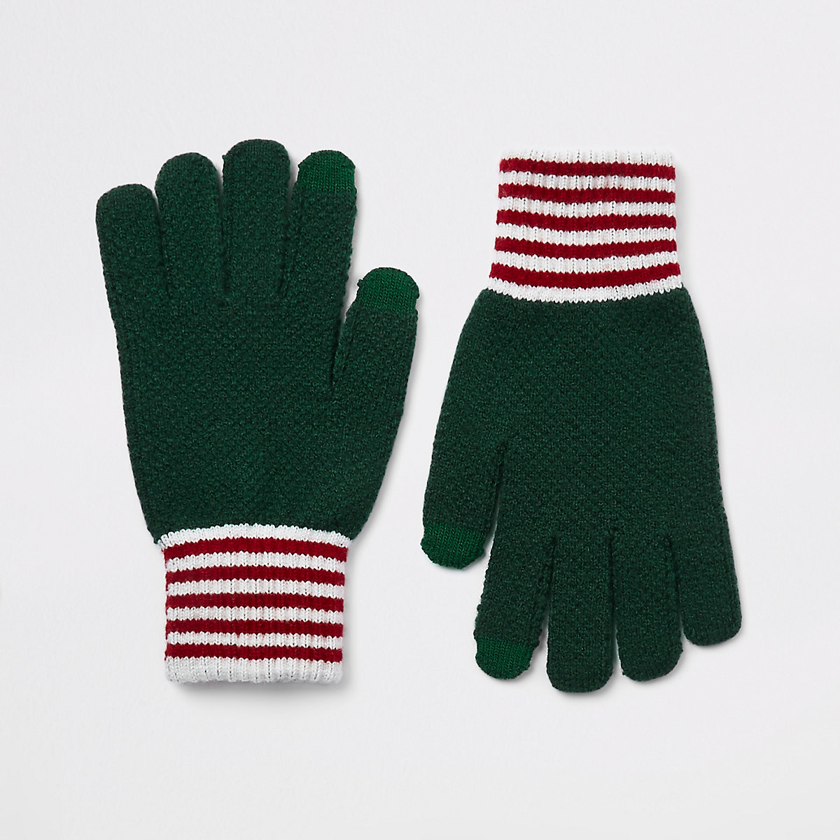 Green knitted cuffed gloves