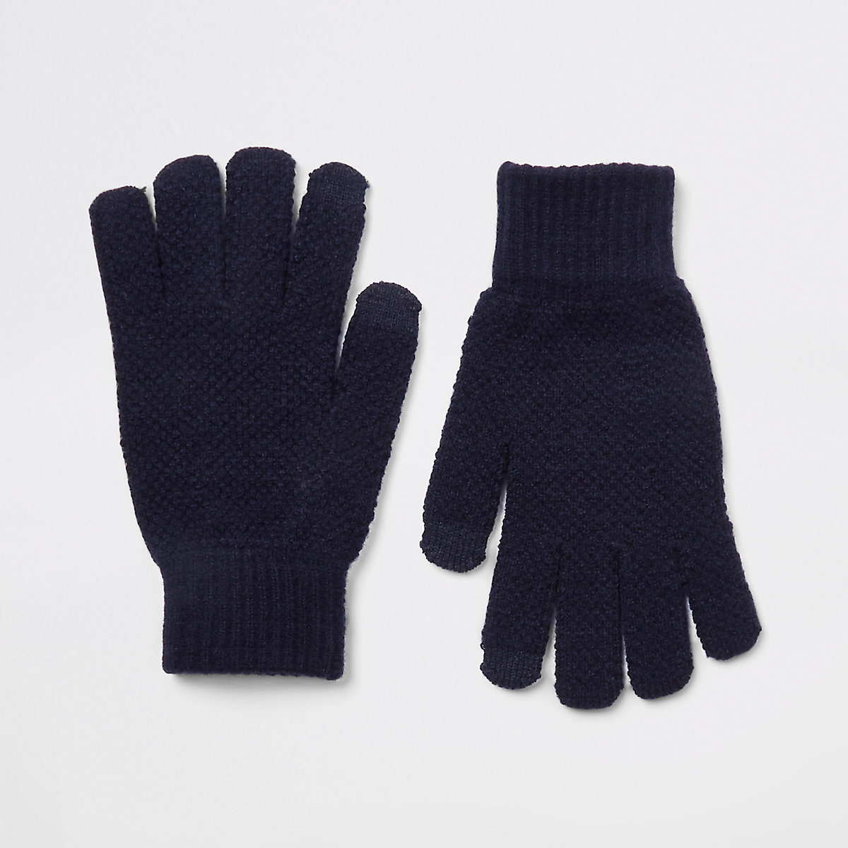 Navy ribbed cuff gloves